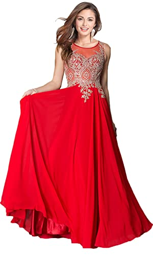 Rong store Rongstore Women's A Line Chiffon Long Appliques Formal Evening Party Dresses