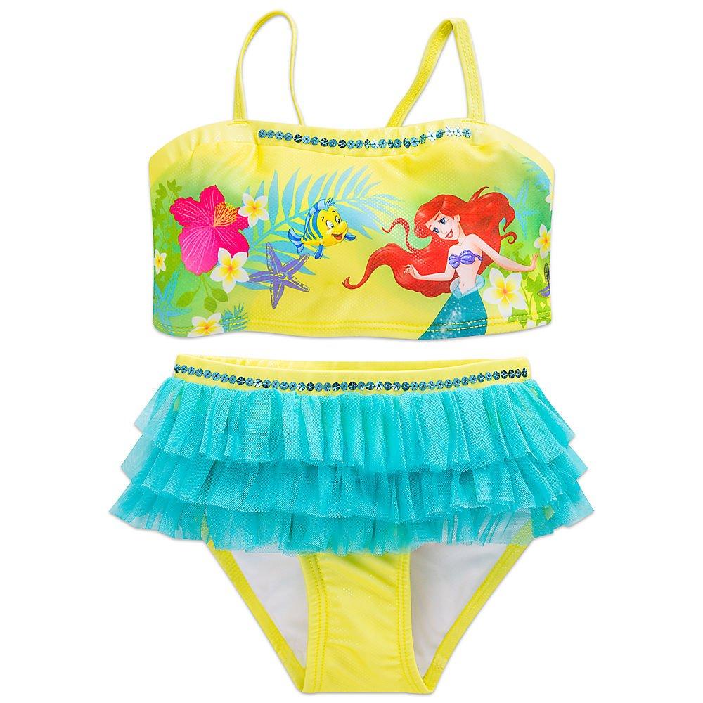 6c319b32490be Amazon.com: Disney Ariel Swimsuit for Girls - 2-Piece Green: Clothing
