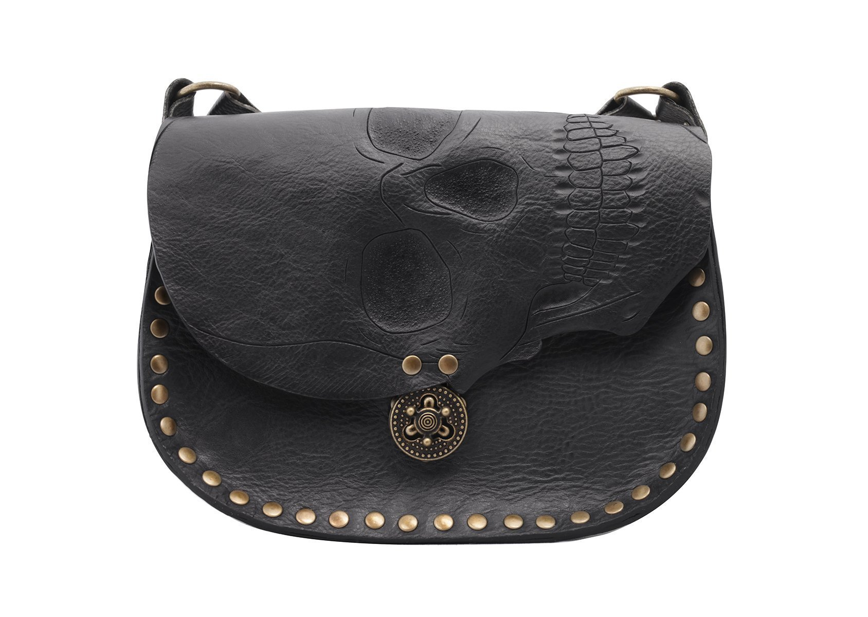 Handmade leather black skull cross body bag with adjustable strap and locking closure