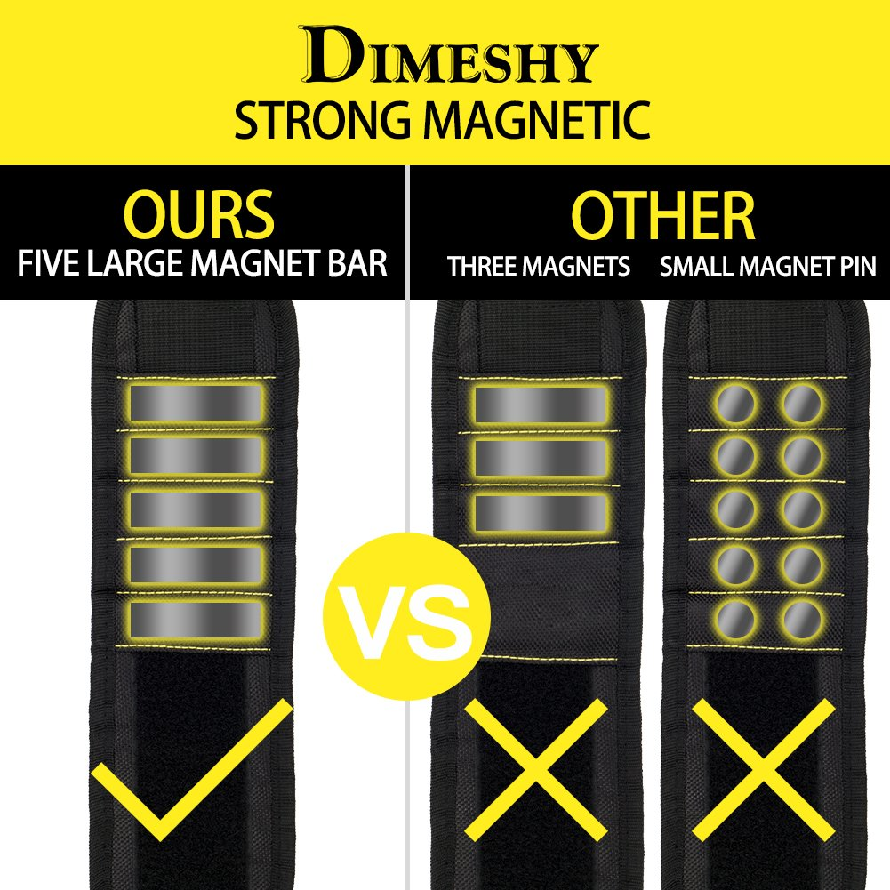 Magnetic Wristband With Five Strong Magnets for Holding Screws, Nails, Bolts, Drill Bits- the Best Tool Gift for DIY Handyman, Father, Husband by DIMESHY
