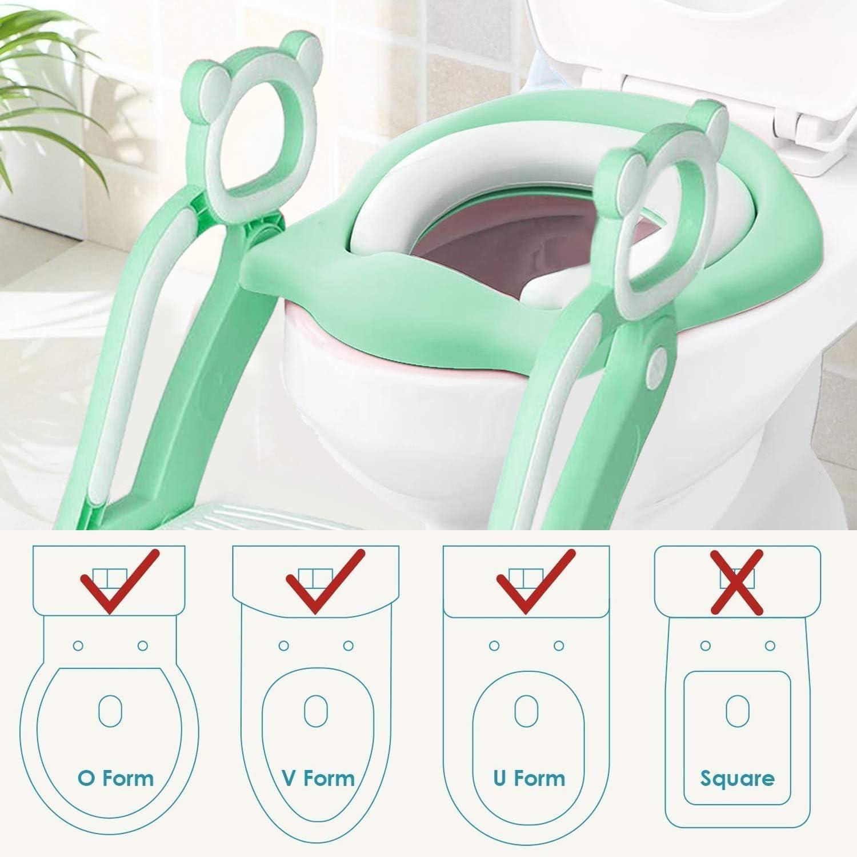 Keplin Si/ège de toilette pour enfant avec /échelle robuste antid/érapante et coussin doux
