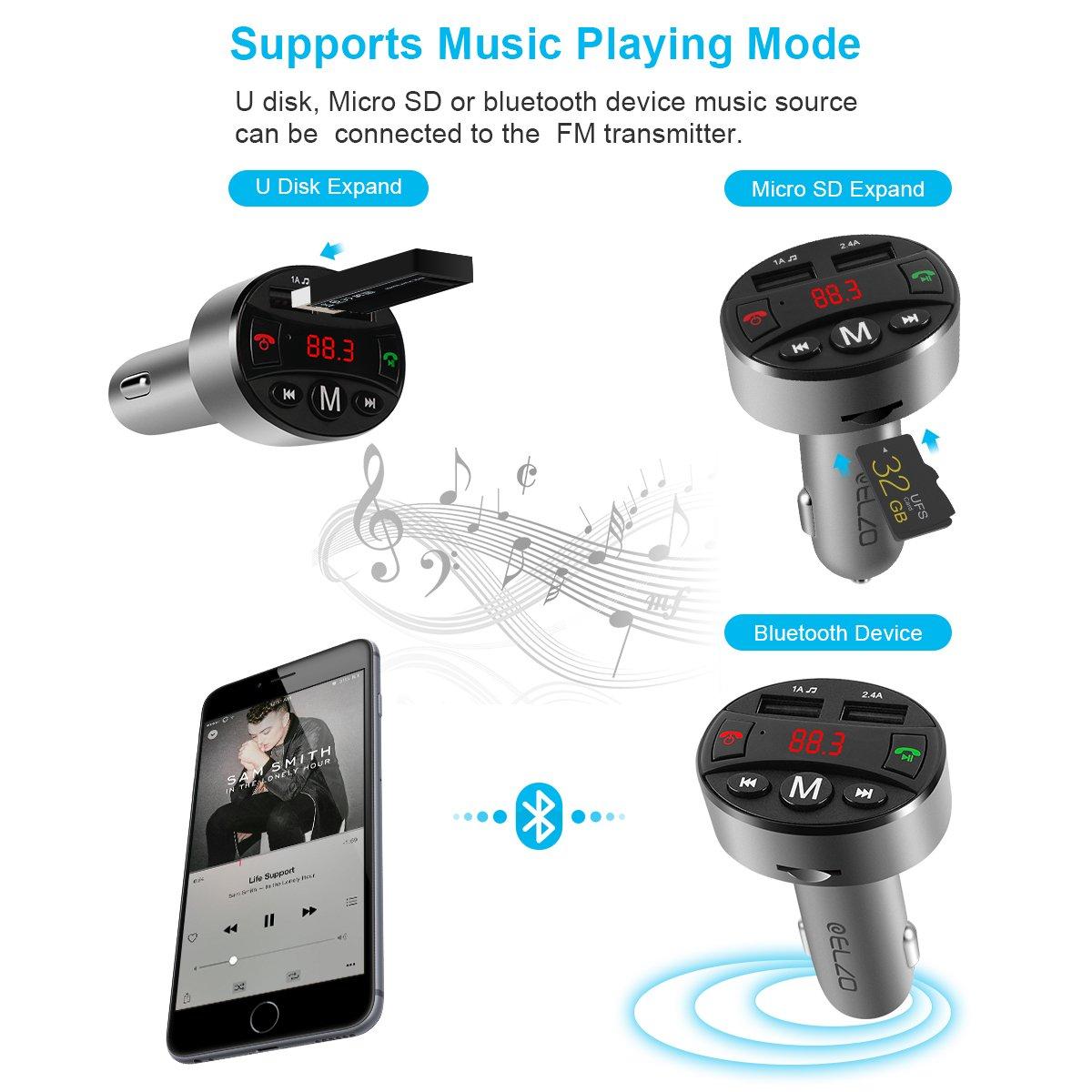 ELZO Auto KFZ Radio Bluetooth Adapter Freisprecheinrichtung mit Mikrofon Dual USB Ladeger/ät 5V//2.4A Bluetooth FM Transmitter Silber LED Anzeige Unterst/ützt USB- Stick f/ür iOS und Android Ger/äte