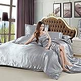 Kesoto 品質保証 柔らかい ソリッドカラー サテンシルク 寝具 羽毛 布団カバーセット シーツ 枕カバー シングルサイズベッド 1.2メートルのベッド対応 全7色 - グレー