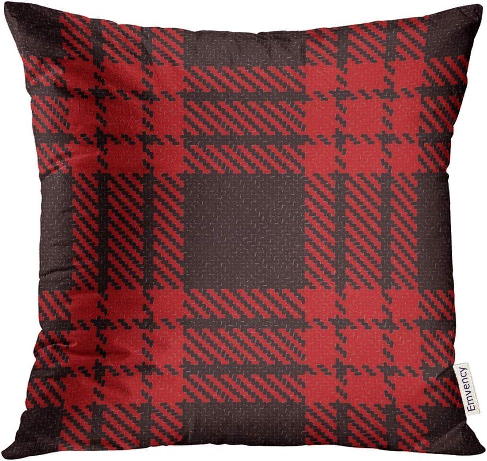 Kinhevao Throw Pillow Red Black Lumberjack Trendy Hipster Style Tartan and Buffalo Check Patrón a Cuadros Colorido Celtic Almohada Decorativa Decoración para el hogar Almohada Cuadrada