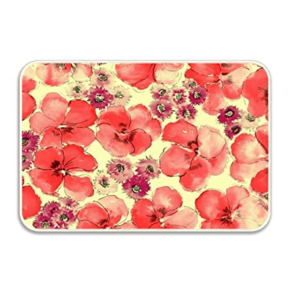 Amazoncom Doorningboliymate Red Flower Emoji Home Decor Door Mat
