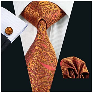 4e88c3785d44 Burnt Orange Paisley Silk Tie Matching Pocket Square & Cufflinks From  Durham Ties: Amazon.co.uk: Clothing