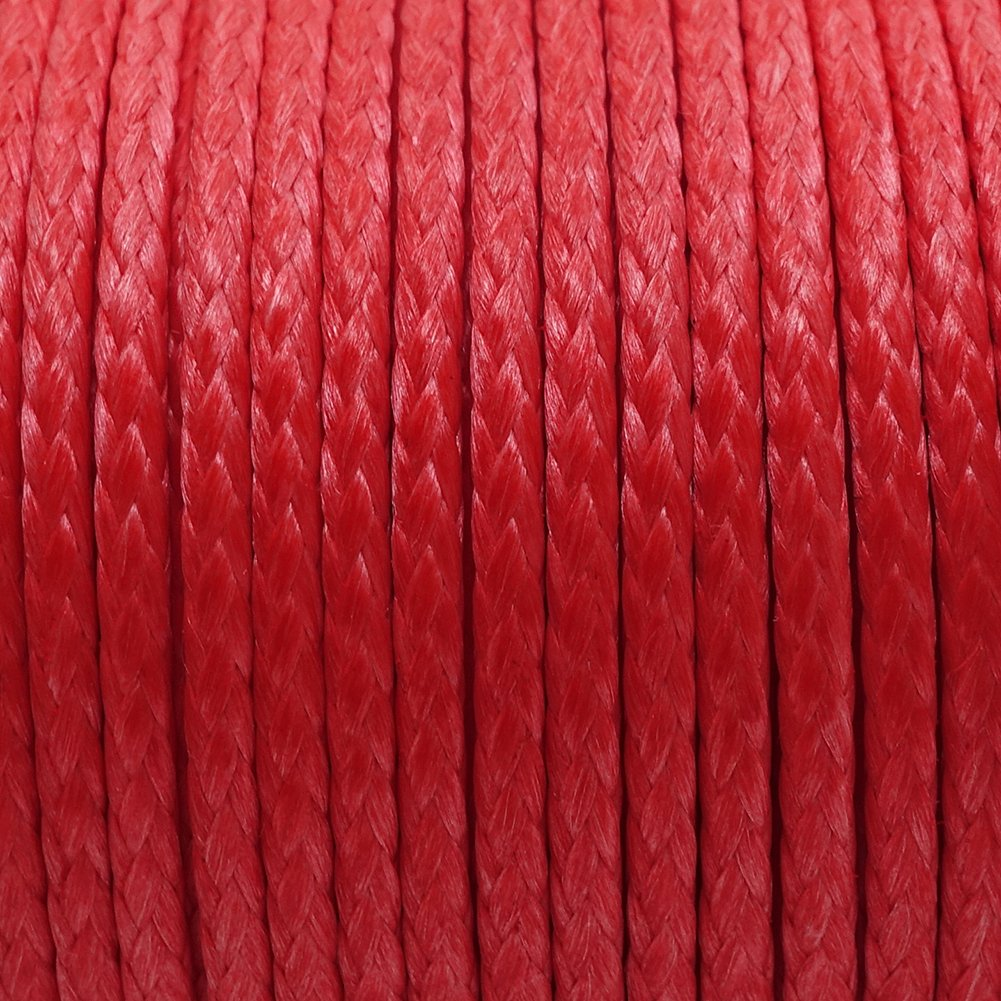 emma kites Red UHMWPE Braided Cord High Strength Least Stretch Tent Tarp Rain Fly Guyline Hammock Ridgeline Suspension for Camping Hiking Backpacking Survival Recreational Marine Outdoors 100Ft 350Lb by emma kites (Image #3)