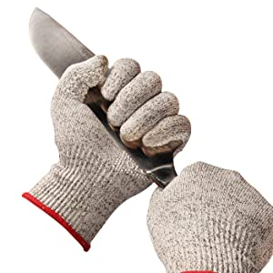 OZERO Knife Gloves Food Grade Cut Level 5 with Silicone Gel Palm Extra Grip for Cutting, Cooking, Fishing and Gardening, for Women and Men, 1 Pair (Gray,Small)