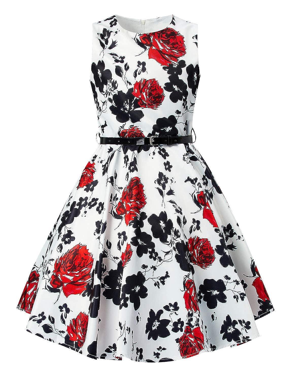Idgreatim Girls Vintage Swing Dress Cute Printed Pleated Sleeveless Halloween Party Dresses Skirt with Belt 6-13 Years