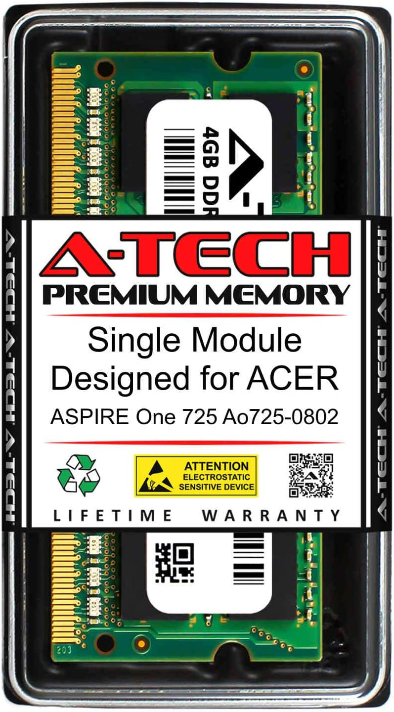 A-Tech 4GB RAM for ACER Aspire ONE 725 AO725-0802 | DDR3 1066MHz SODIMM PC3-8500 204-Pin Non-ECC Memory Upgrade Module