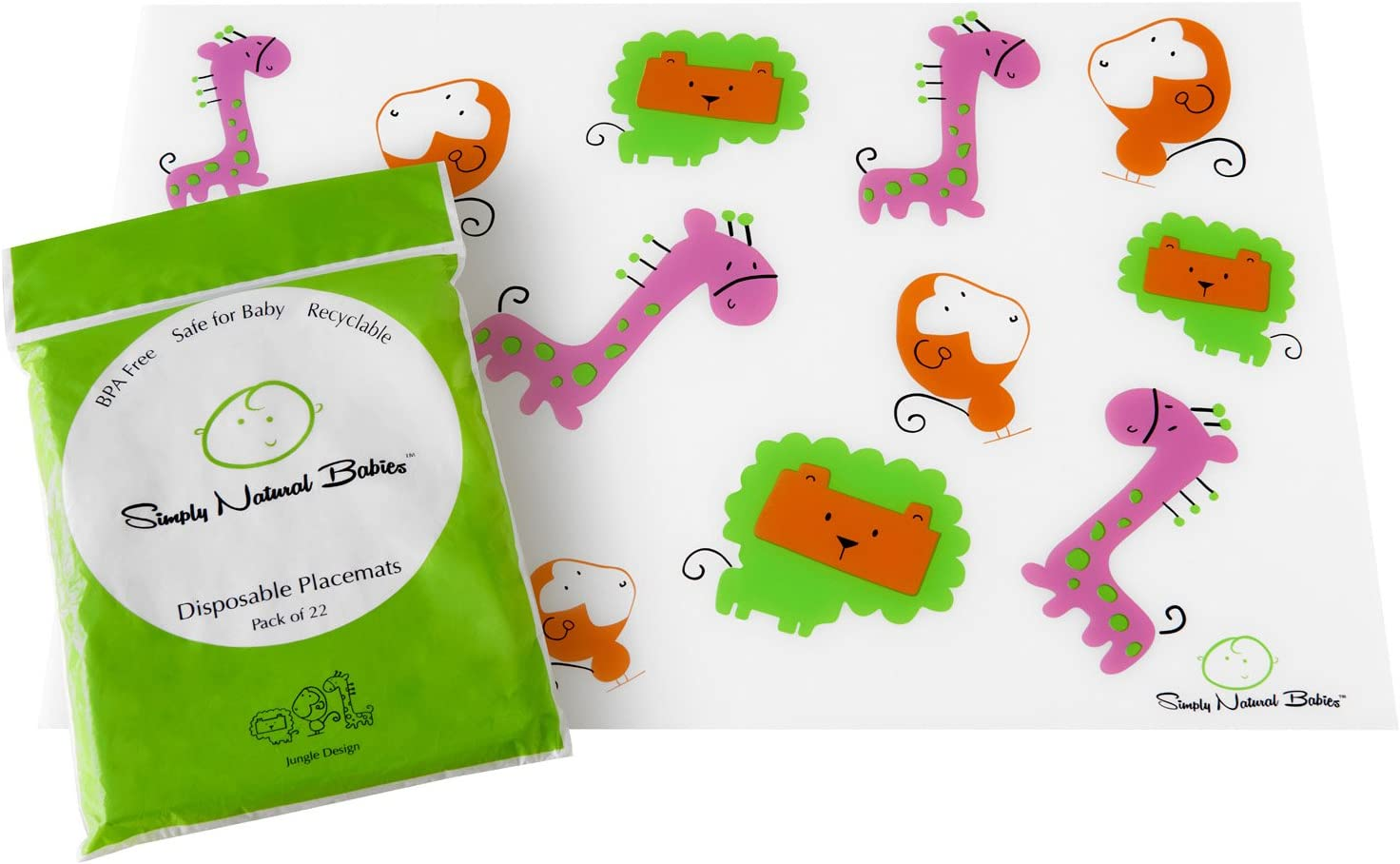 3 Bags of 22 - BPA FREE 66-Count Table Mats for Baby and Toddlers Premium CHIC Disposable Placemats