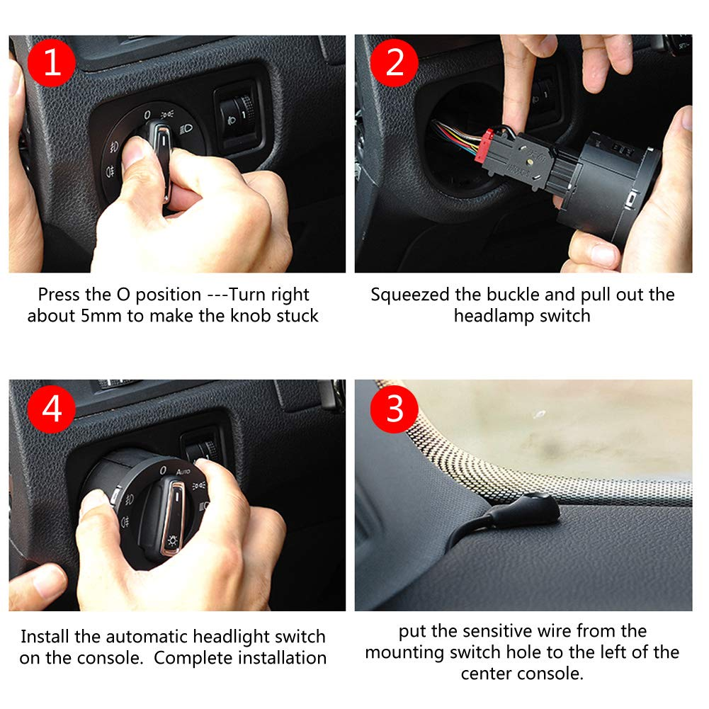 Lichtsensormodul Autoscheinwerferlampen Steuerschalter f/ür MK5 MK6