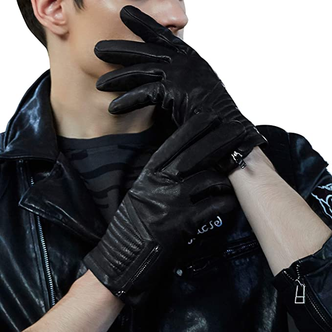 MENS 100/% LEATHER GLOVES PREMIUM FABRIC LINED BLACK DRIVING WINTER GLOVE