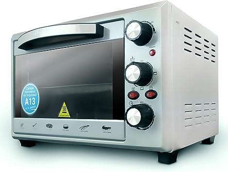 Grunkel - HR-28 SILVER - Horno eléctrico multifunción de sobremesa de 28l con 3 funciones de calor y selector de temperatura hasta 230ºC. Temporizador hasta 60 min - 1600W - Plateado: Amazon.es: Hogar