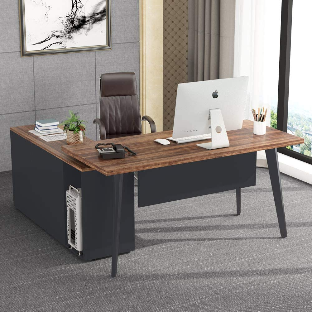 Tribesigns L Shaped Desk with Cabinet, Large Computer Office Desk Table with Drawer and Storage Shelves, Business Furniture with File Cabinet Combo, Vintage Finish & Geay Stainless Steel Legs