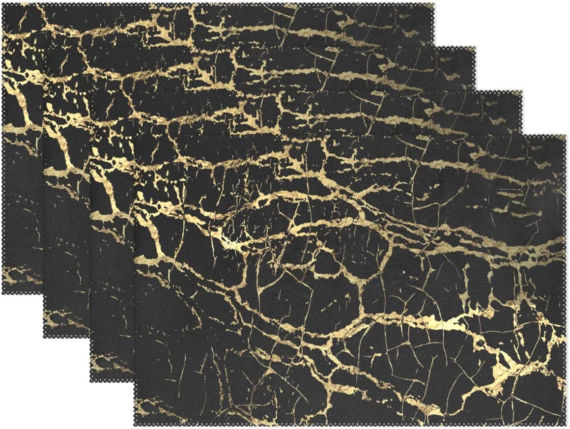 visesunny Placemat Table Mat Desktop Decoration Gold and Black Marble Placemats Set of 6 Non Slip Stain Heat Resistant for Dining Home Kitchen Indoor 12x18 in