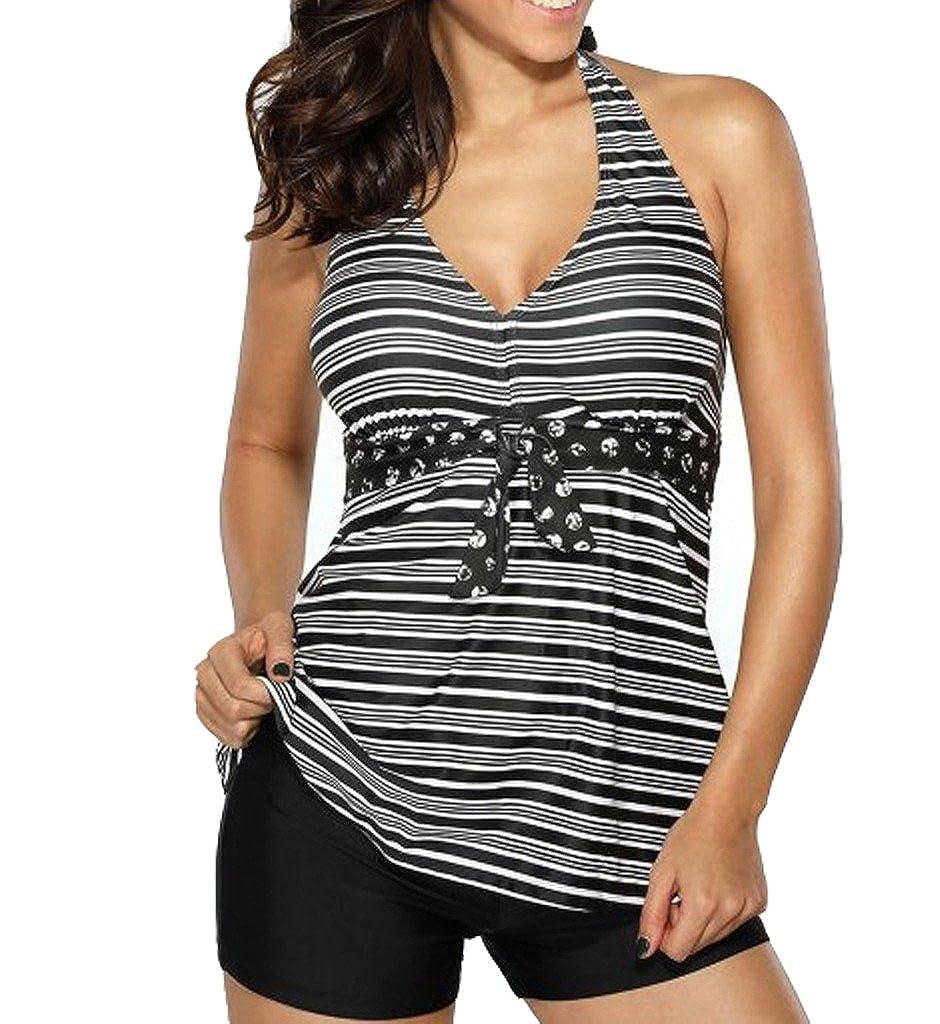Dreamsoar Womens Halter Striped V Neck Printed Tankini Top and Black Shorts Swimsuit Set Vneck-Stri-089-S