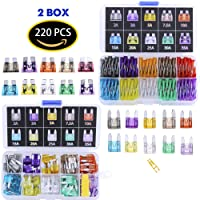 Blade Car Fuses Assortment Kit 220PCS –Standard & Mini (2A/3A/5A/7.5A/10A/15A/20A/25A/30A/35A) ATO / APR / ATC Fuse Car Kit Assorted Auto Truck Boat Truck SUV Automotive Replacement Fuses Puller