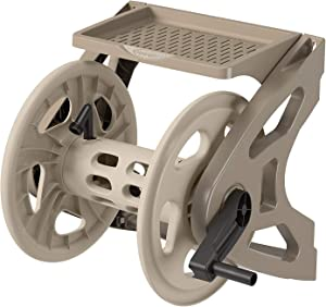 Suncast Resin Wall Mounted Handler Hose Reel - Durable Outdoor Hose Reel with Crank Handle and Storage Tray - 200' Hose Capacity - Taupe
