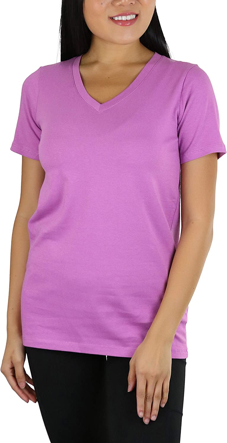 ToBeInStyle Women's Cotton Blend V-Neck Short Sleeve Relaxed Fit T-Shirt