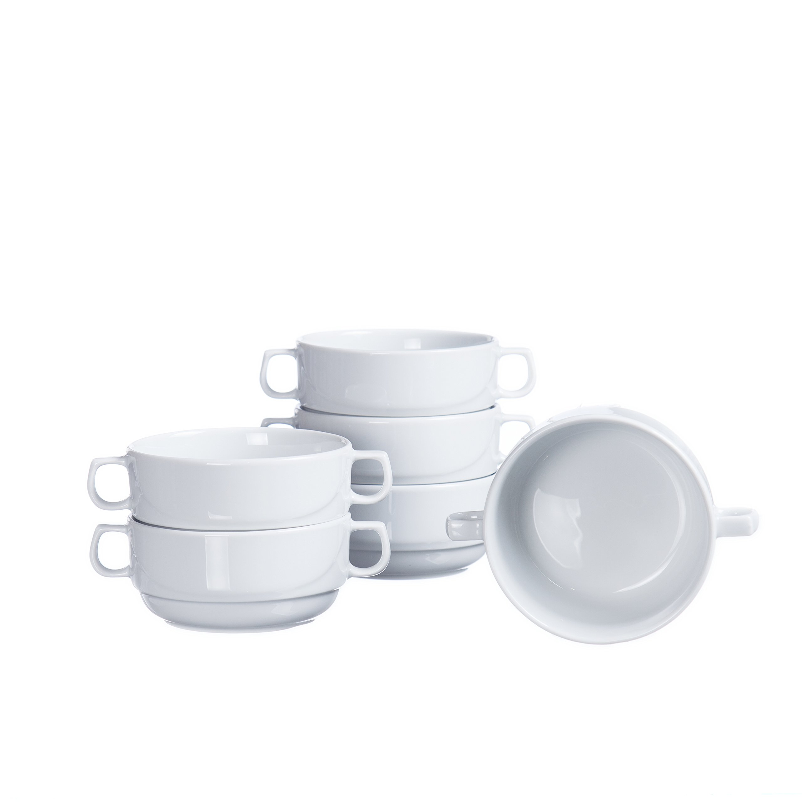 Stackable Soup/Cereal BOWLS with Handles (4-piece, 6-piece, 12-piece Sets), 10.8 Oz, White Porcelain, Restaurant&Hotel Quality (6)