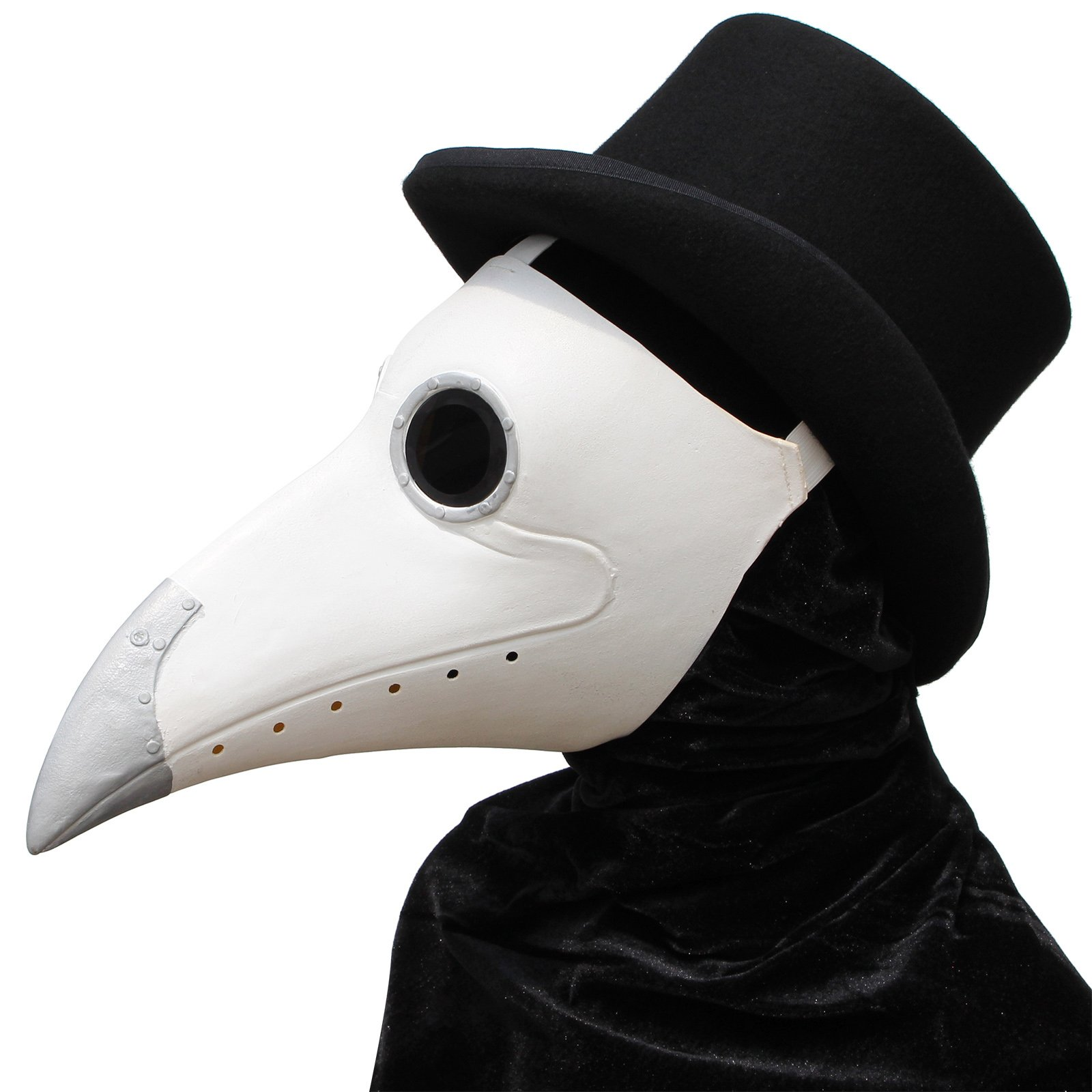PartyCostume - White Plague Doctor Mask - Long Nose Bird Beak Steampunk Halloween Costume Props Mask