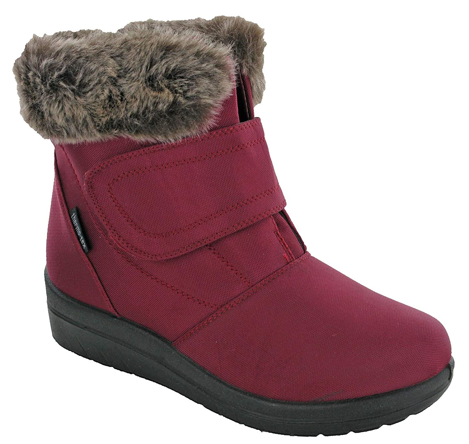4cd700f2ecf49 Cushion Walk Velcro Boots Thermo-Tex Winter Warm Lined Fur Ankle Shoes