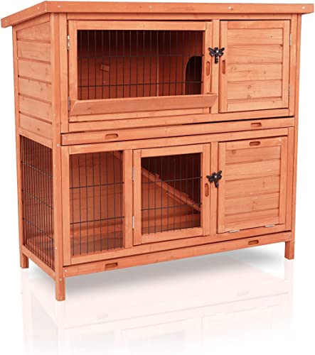 LAZY BUDDY Rabbit Hutch,Wooden Rabbit Cage Indoor and Outdoor Use with Waterproof Roof for Bunny, Rabbit, Chicken and Other Pets