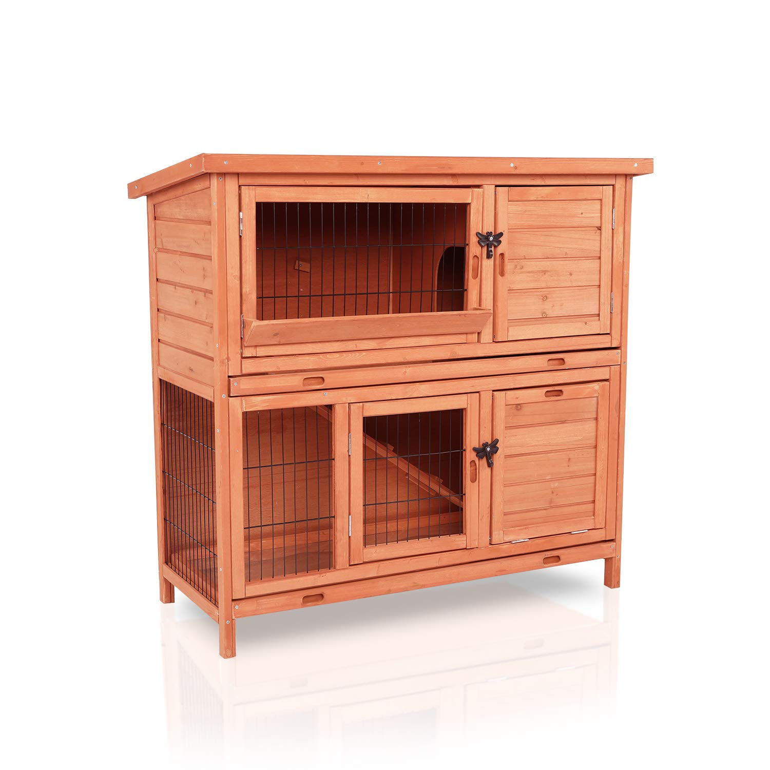 "LAZY BUDDY Rabbit Hutch, 40"" Wooden Rabbit Cage Indoor and Outdoor Use with Waterproof Roof for Bunny, Rabbit, Chicken and Other Pets"