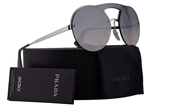 11e0748ffb99 Image Unavailable. Image not available for. Color  Prada PR65TS Sunglasses  Silver w Gradient Blue Mirror Silver 36mm Lens ...