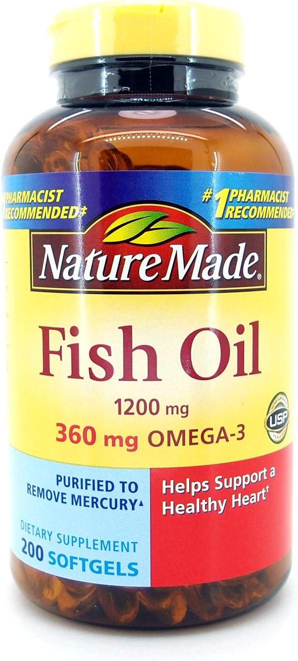 Nature Made Fish Oil 1200 Mg (360 Mg Omega-3) 200 Liquid Softgels