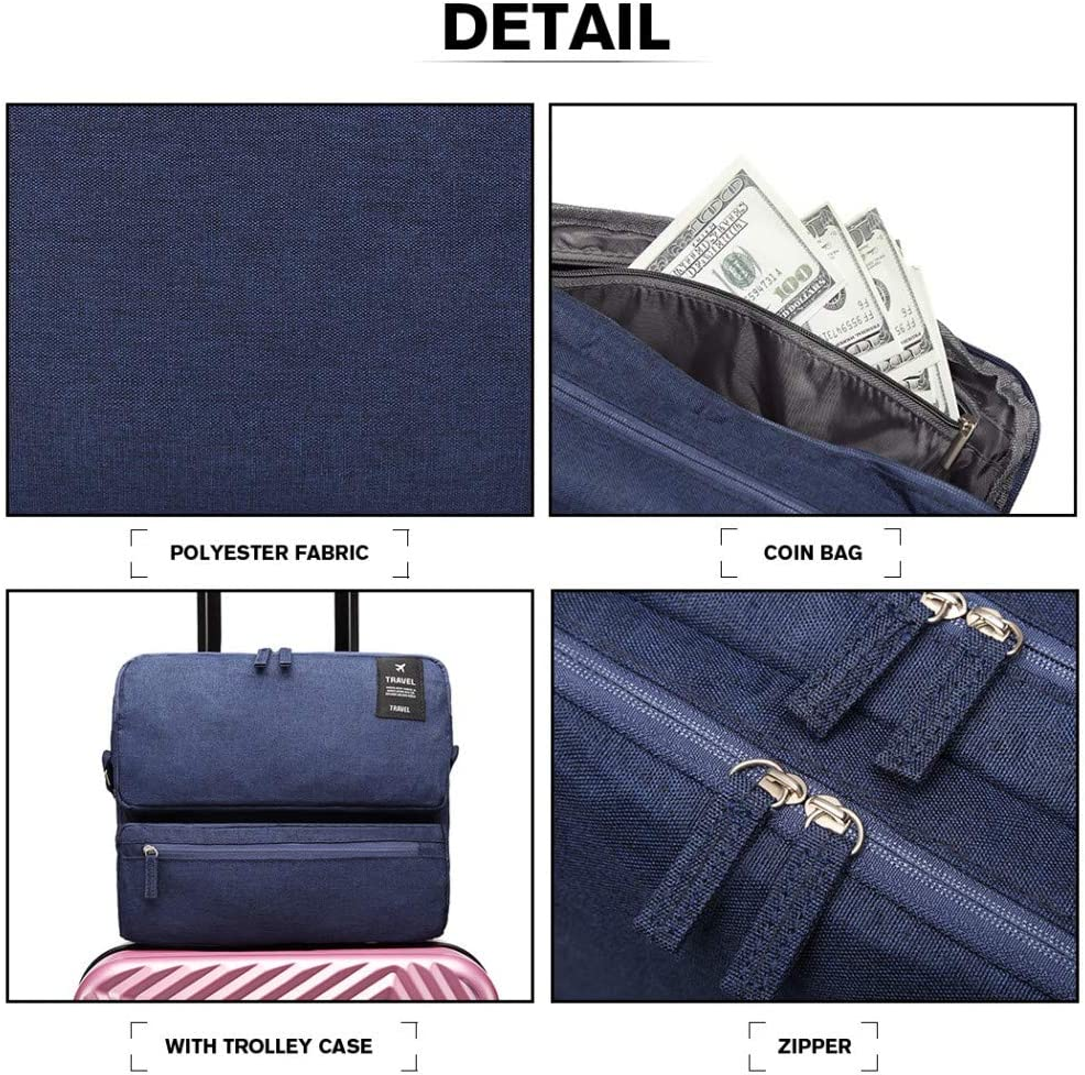 Navy Kono Mens Shoulder Bags Stylish Lightweight Multipockets Messenger Bag for Travel School Boys