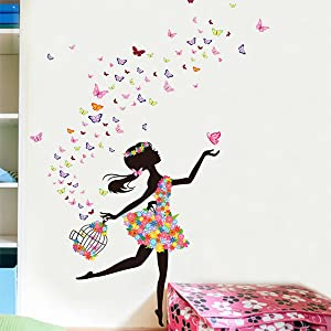 Mf@ Flower Dancing Girl Butterfly PVC Wall Stickers Decals for Girls Room Bedroom(dacegirl)