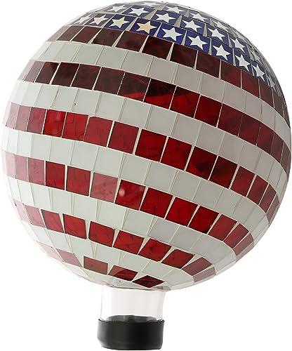 10 inch Patriotic Stars and Stripes Mosaic Gazing Ball