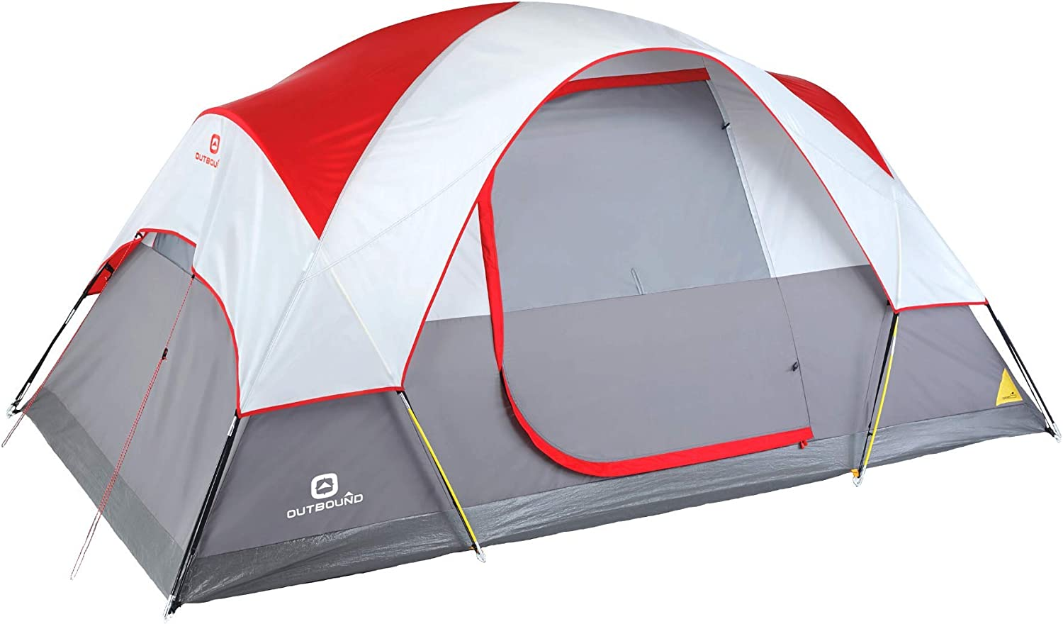 Outbound 6-Person Dome Tent for Camping with Carry Bag and Rainfly | Easy Up & Water Resistant | 3 Season| Red