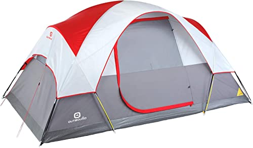Outbound 6-Person Dome Tent for Camping with Carry Bag and Rainfly Perfect for Backpacking and The Beach Red