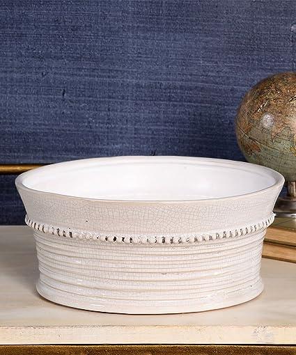 Amazon.com: Provence cerámica Amplia Cachepot – Blanco ...