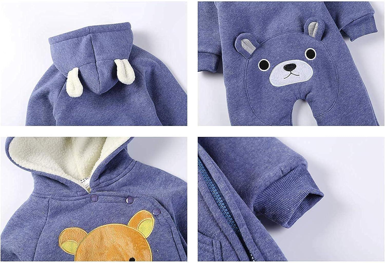 Carlos Foushee Infant Baby Unisex Winter Thick Fleece Romper Outwear Warm Hood Jumpsuit