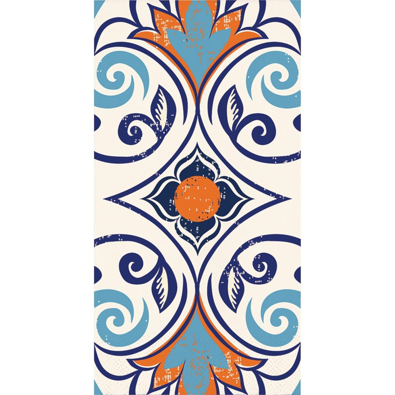 Pack of 192ブルーとオレンジモロッコタイルテーマ3本ヴィンテージパーティーナプキン8