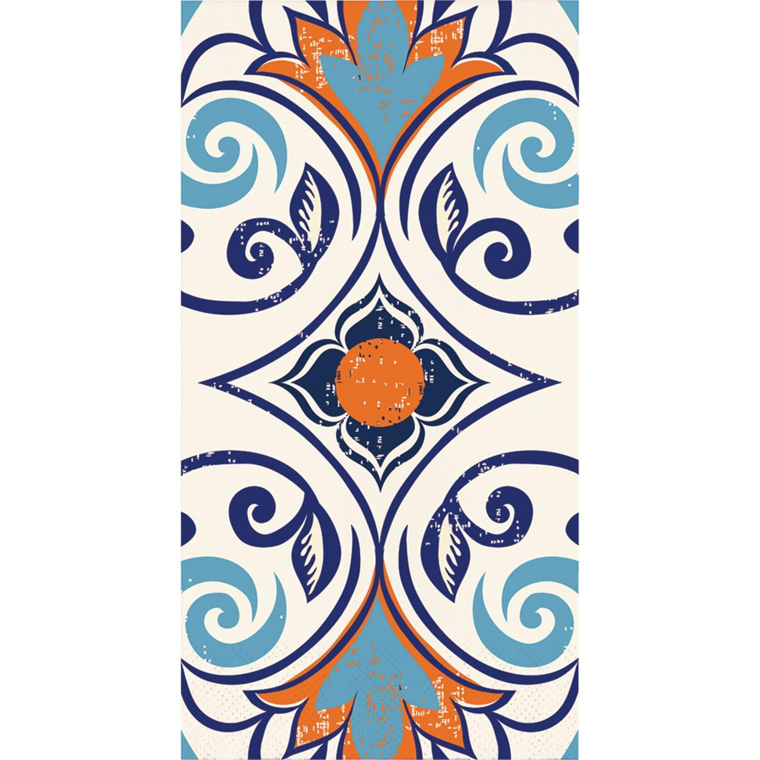 "Pack of 192 Blue and Orange Moroccan Tile Themed 3-Ply Vintage Party Napkins 8"" by Party Central (Image #1)"