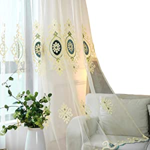 VOGOL Simple Chenille Jacquard Sheer Window Elegance Curtains/Drapes/Panels/Treatments for Bedroom Living Room,Top Grommets,2 Panels,42 x 63