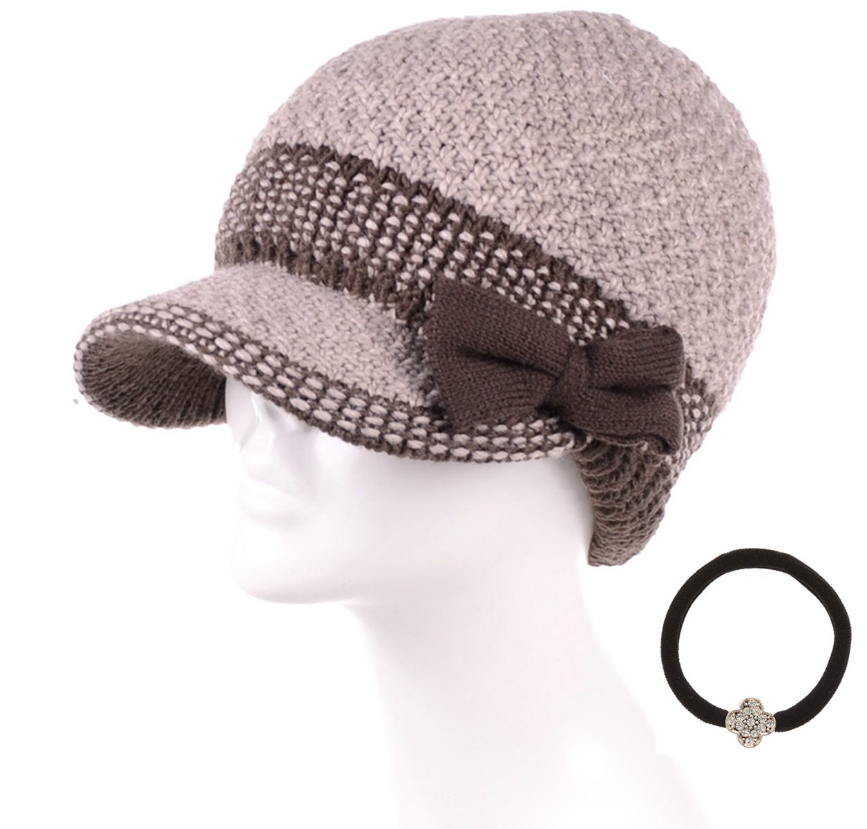 89387ee8690 MIRMARU Women s Winter Cable Knitted Beret Visor Beanie Hat with Scrunchy.  product image