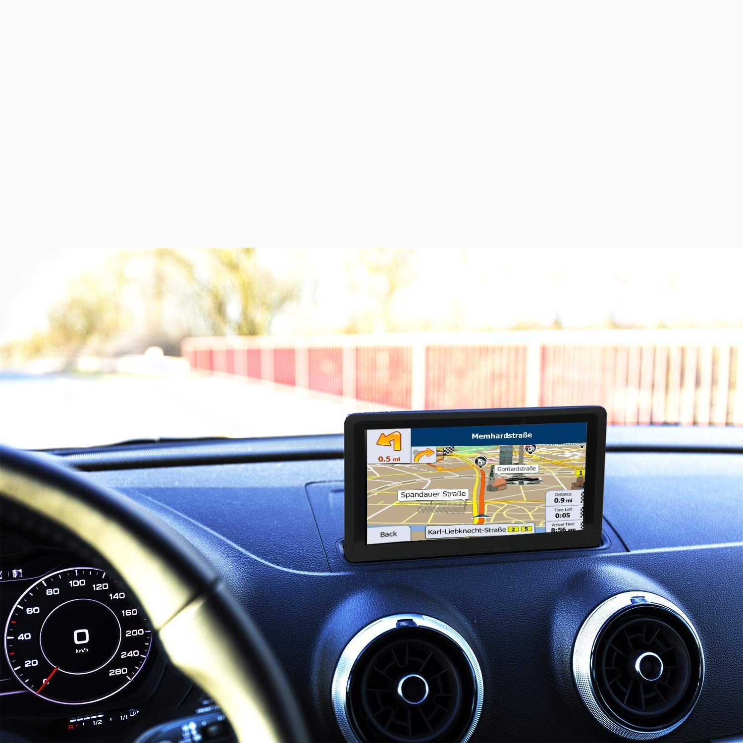 Car GPS Navigation 7 inch 8GB GPS Navigation System for Cars, Vehicle GPS Navigator, Lifetime Map Updates, High Brightness Touch screen, Pre-installed USA Maps