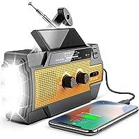 [Upgraded Version] Emergency Radio Hand Crank Solar 4000mAh Portable AM/FM/NOAA Weather Radio with 3 LED Flashlight…