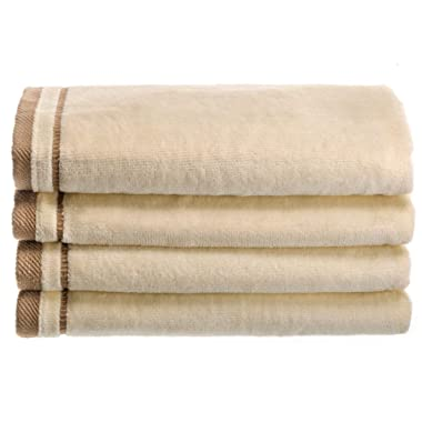 Creative Scents Cotton Velour Fingertip Towel, 4 Piece Set, 11 by 18-Inch, Cream with Embroidered Brown Trim