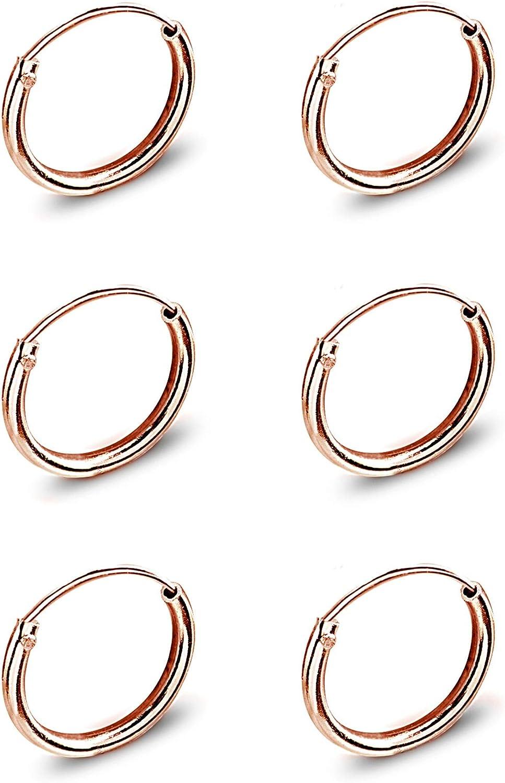 .925 Sterling Silver 10 MM Round Plain Huggie Earrings MSRP $82