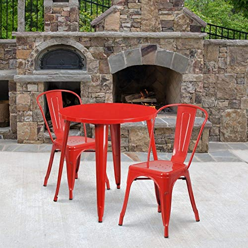 Flash Furniture Commercial Grade 30″ Round Red Metal Indoor-Outdoor Table Set