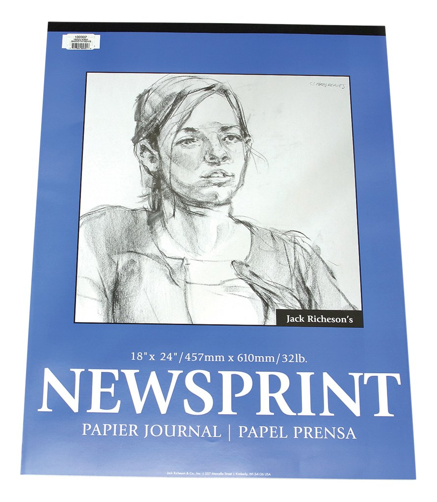 Jack Richeson Smooth Surface Newsprint Pad 18 x 24 100 Sheet by Jack Richeson