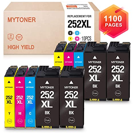Mytoner Remanufactured Ink Cartridge Replacement for Epson 252XL 252 Ink  for Workforce WF-7710 WF-7720 WF-3620 WF-3640 WF-7610 WF-7620 WF-3630