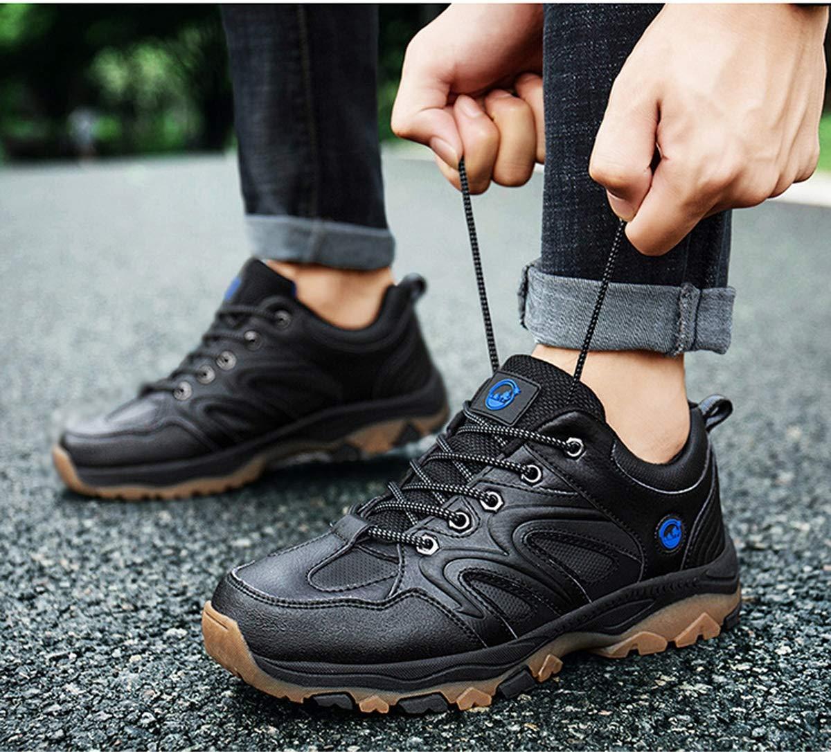 Adong Mens Wanderschuhe Kletterschuhe Training Stiefel Niederterrasse Schuhe Wasserdichte Wasserdichte Wasserdichte Schuhe Schnürchen,schwarz,41EU e8b754